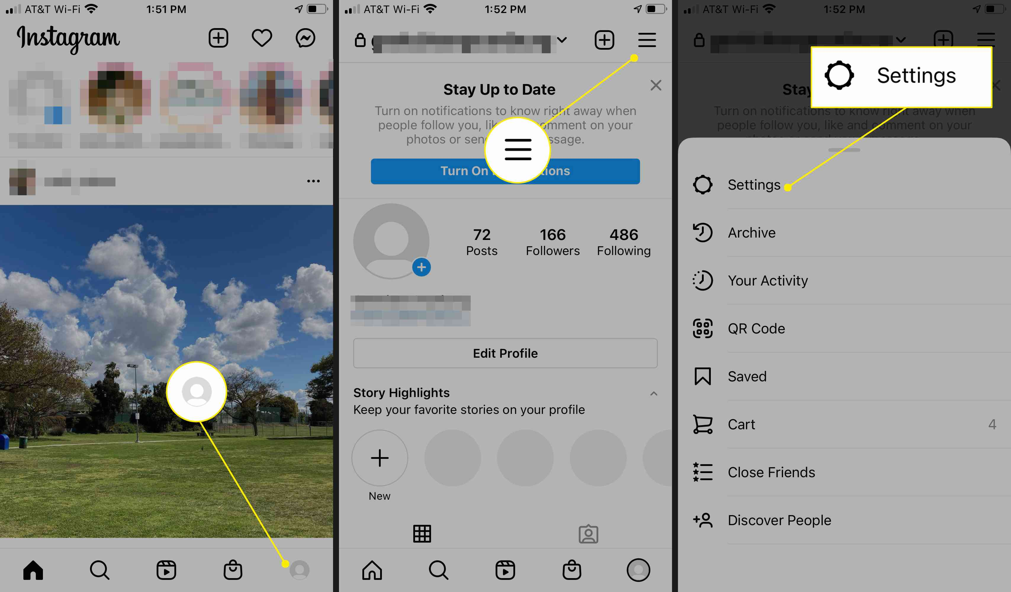 Instagram app's profile icon, menu, and settings highlighted