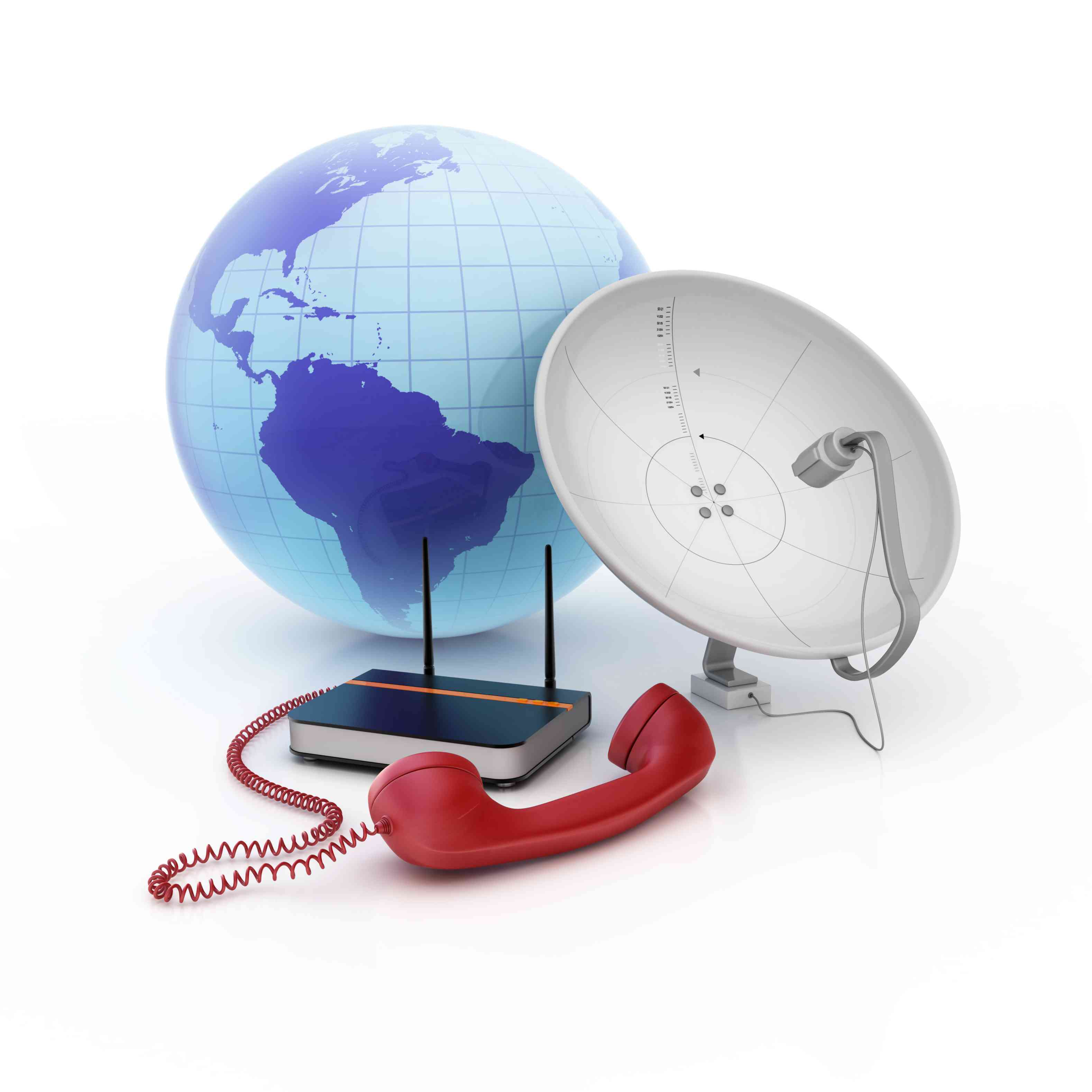Modern telecommunications devices with globe in the background