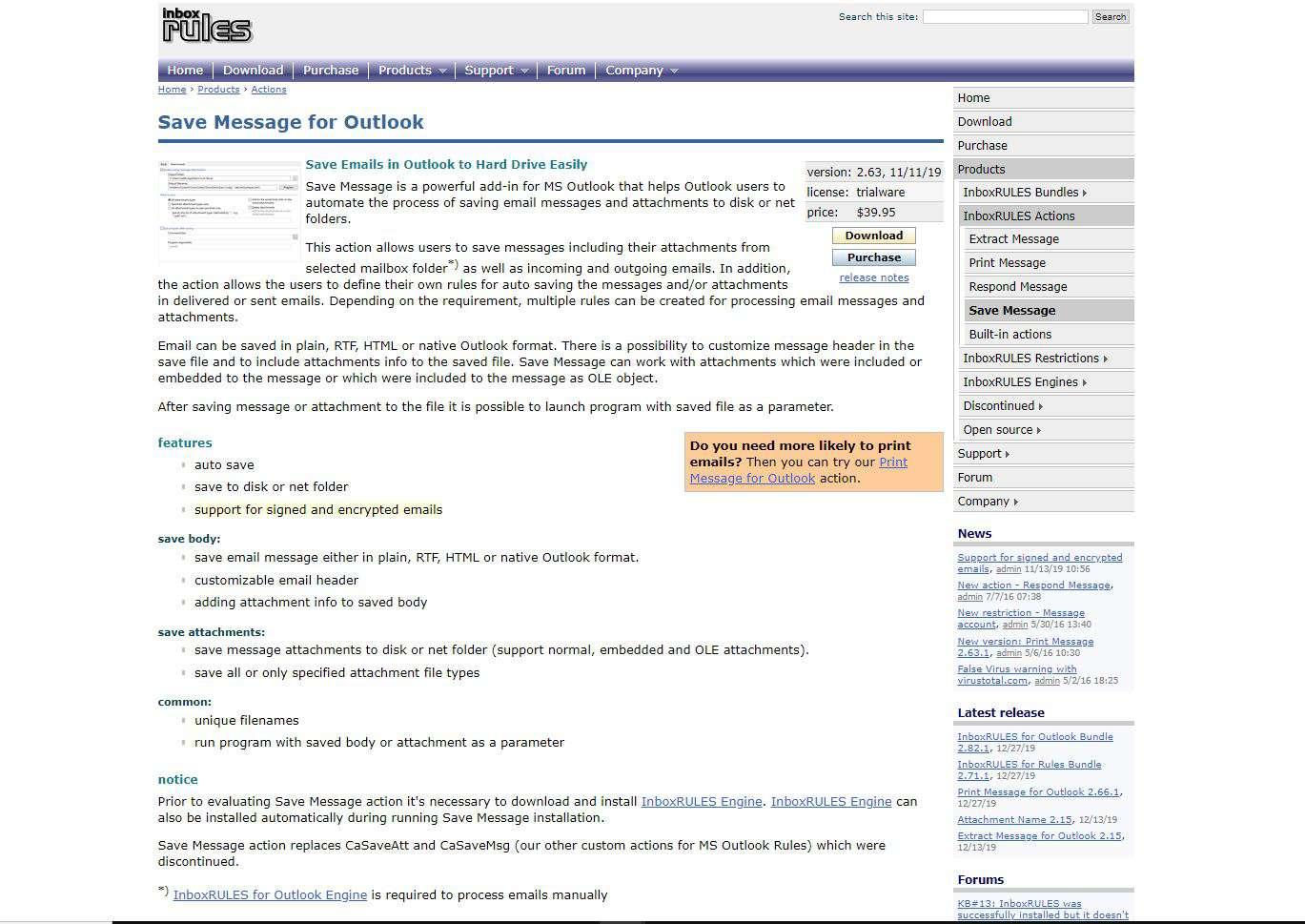 Screenshot of Save Message website