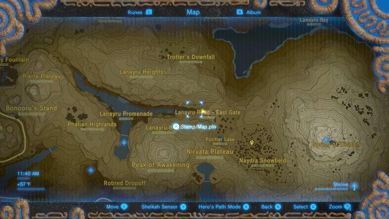 Map of Lanayru Road - East Gate in The Legend of Zelda: Breath of the Wild.