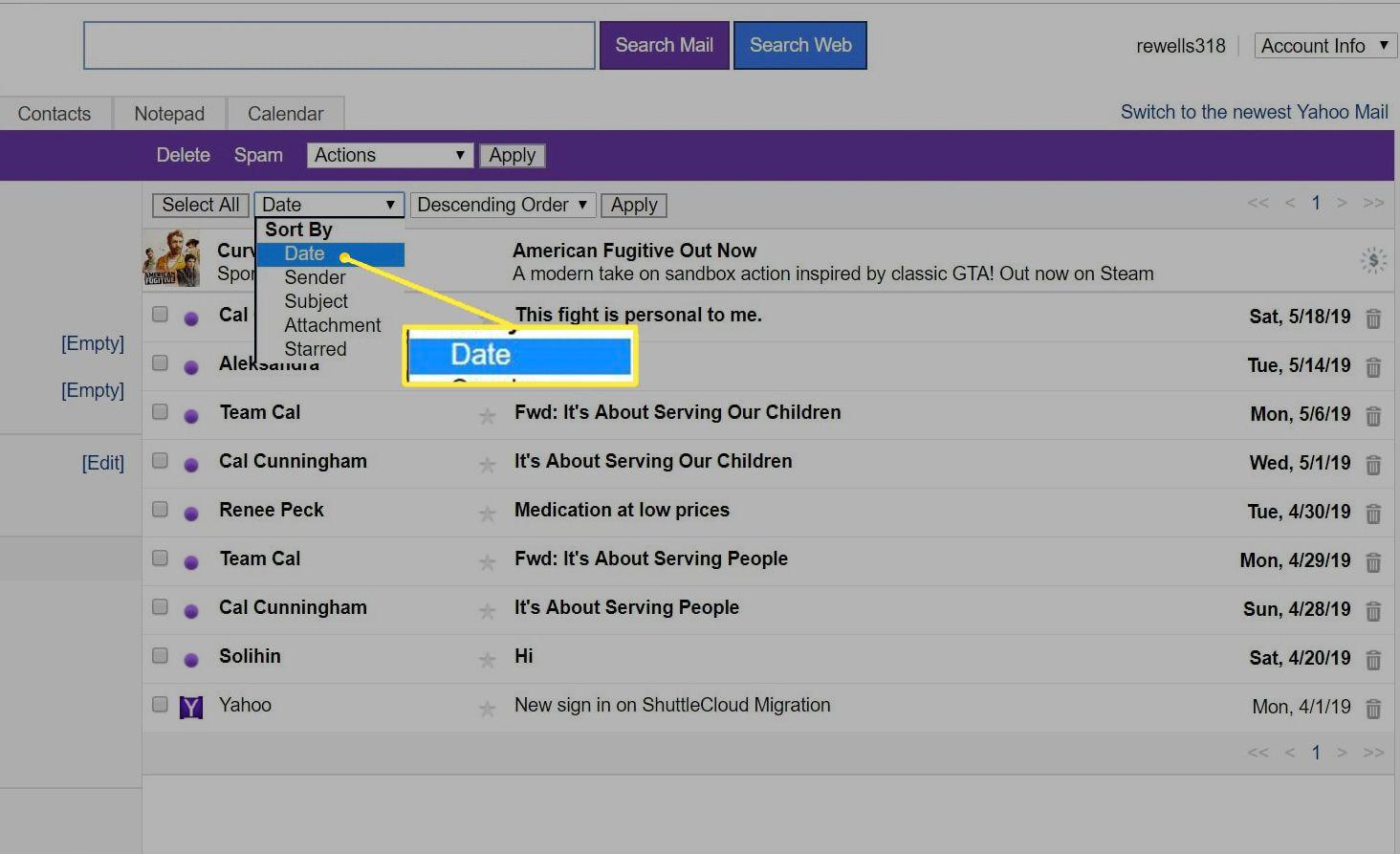 Sort by: Date menu in Yahoo Mail