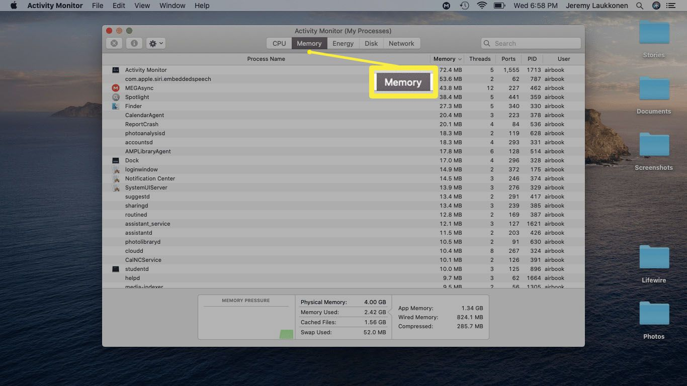 A screenshot of Activity Monitor showing Memory usage.