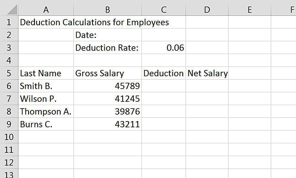 Entering data into an Excel spreadsheet