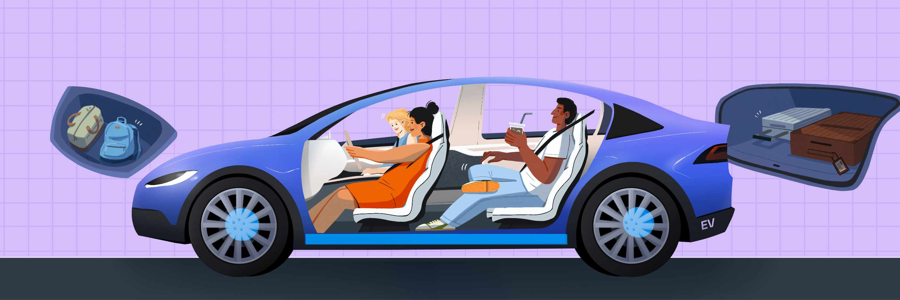 An illustration showing EV front and rear trunks plus the extra interior space they typically hold.