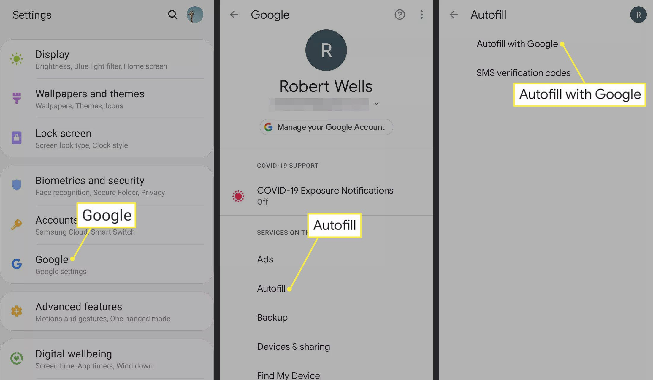 Google, Autofill, and Autofill with Google highlighted in Android Settings