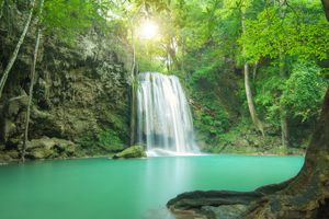 Photograph of waterfall in jungle