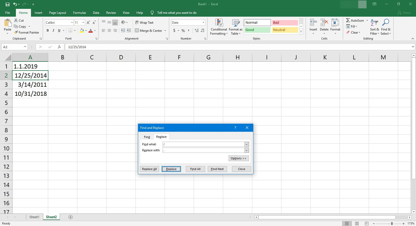 An example of using Find and Replace in Excel.