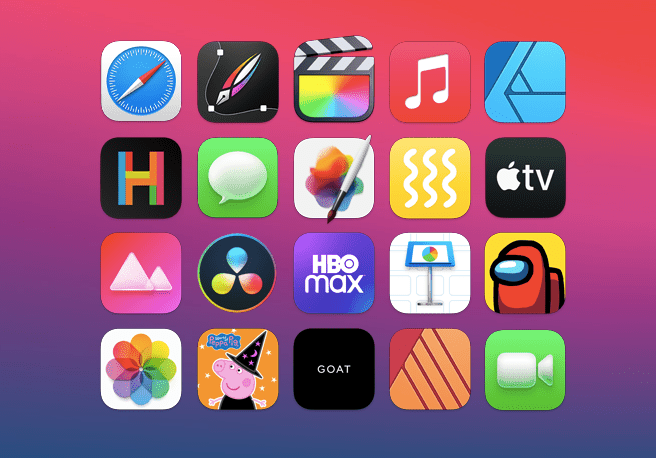 A collection of apps available on macOS, including HBO Max, Among Us, and Apple TV