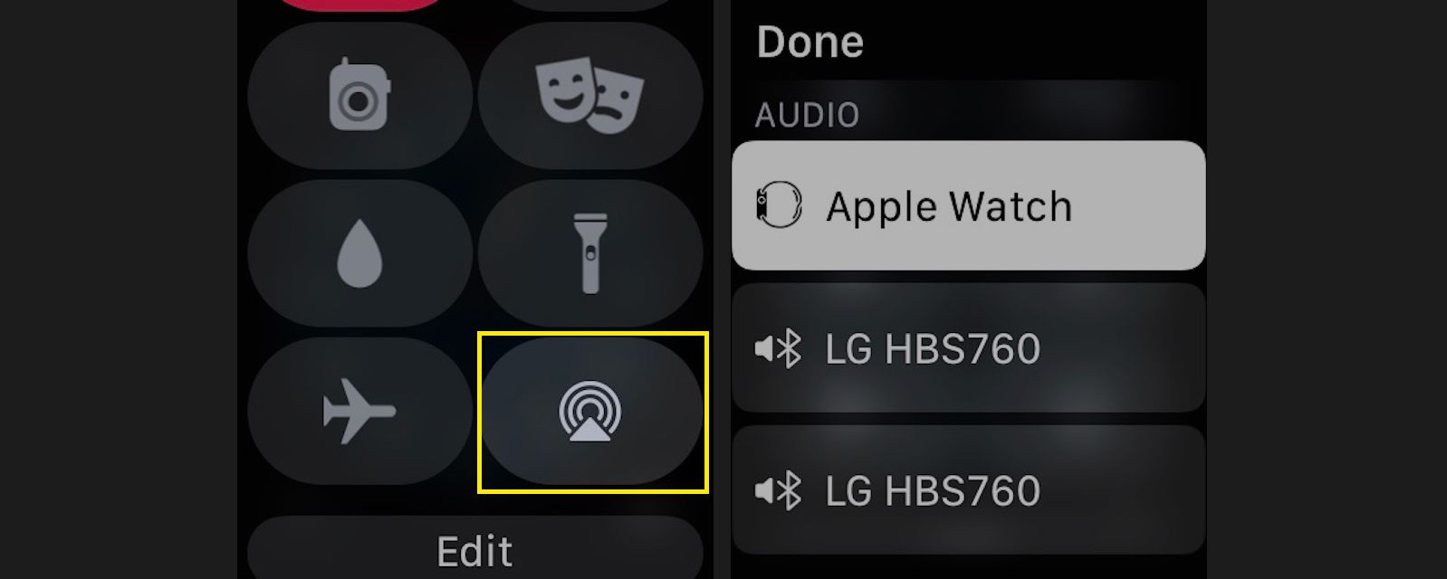 Tap the AirPlay icon (circles with a triangle) to control AirPlay's sound output.