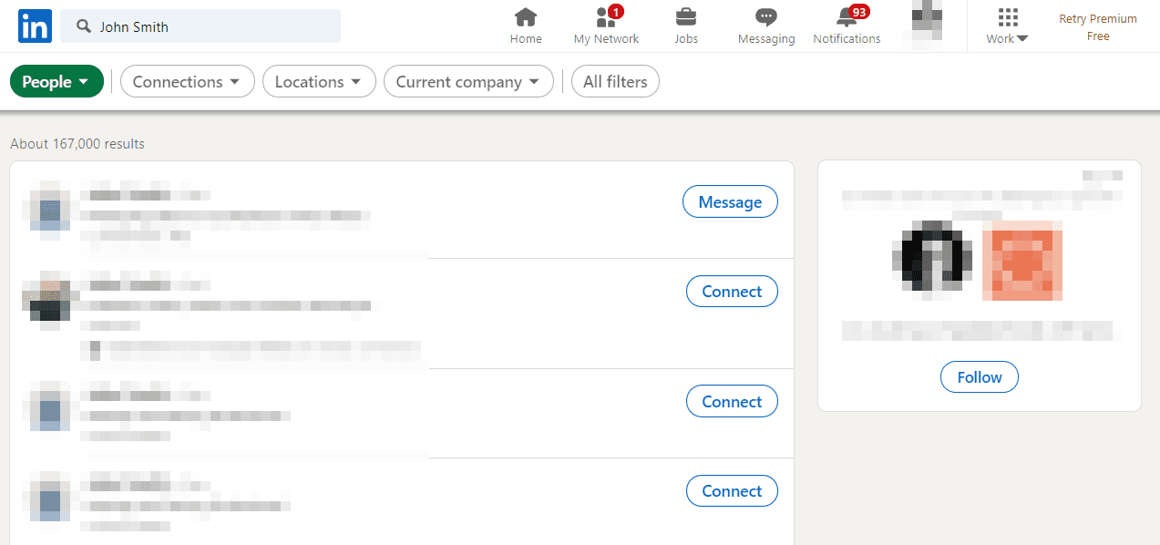 LinkedIn people search results for John Smith