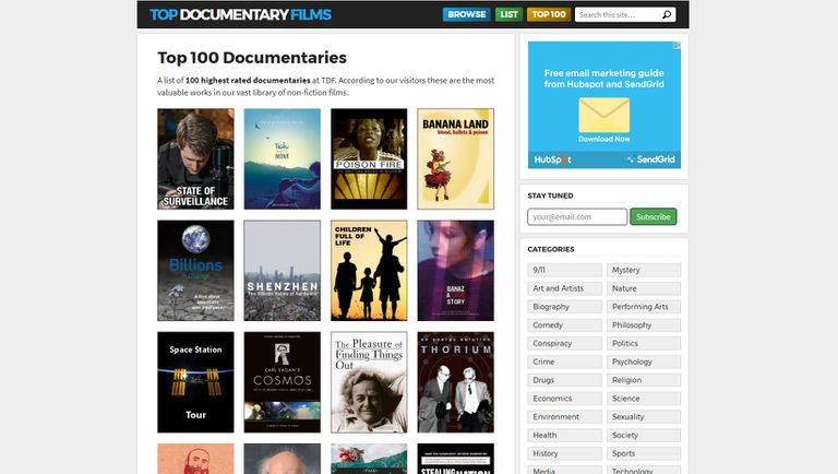 The top 100 documentaries at TopDocumentaryFilms