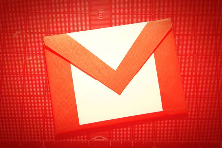 Picture of the Gmail logo on a red background
