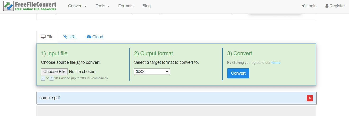 PDF to DOCX conversion online at FreeFileConvert
