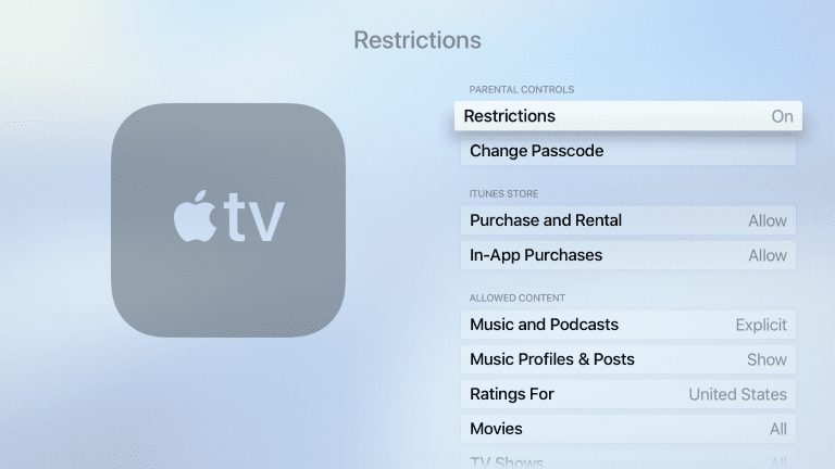 Apple TV Restrictions main page