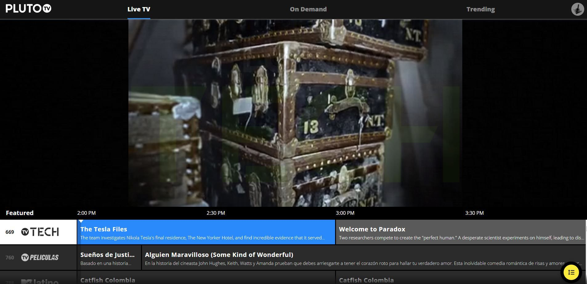 PlutoTV website