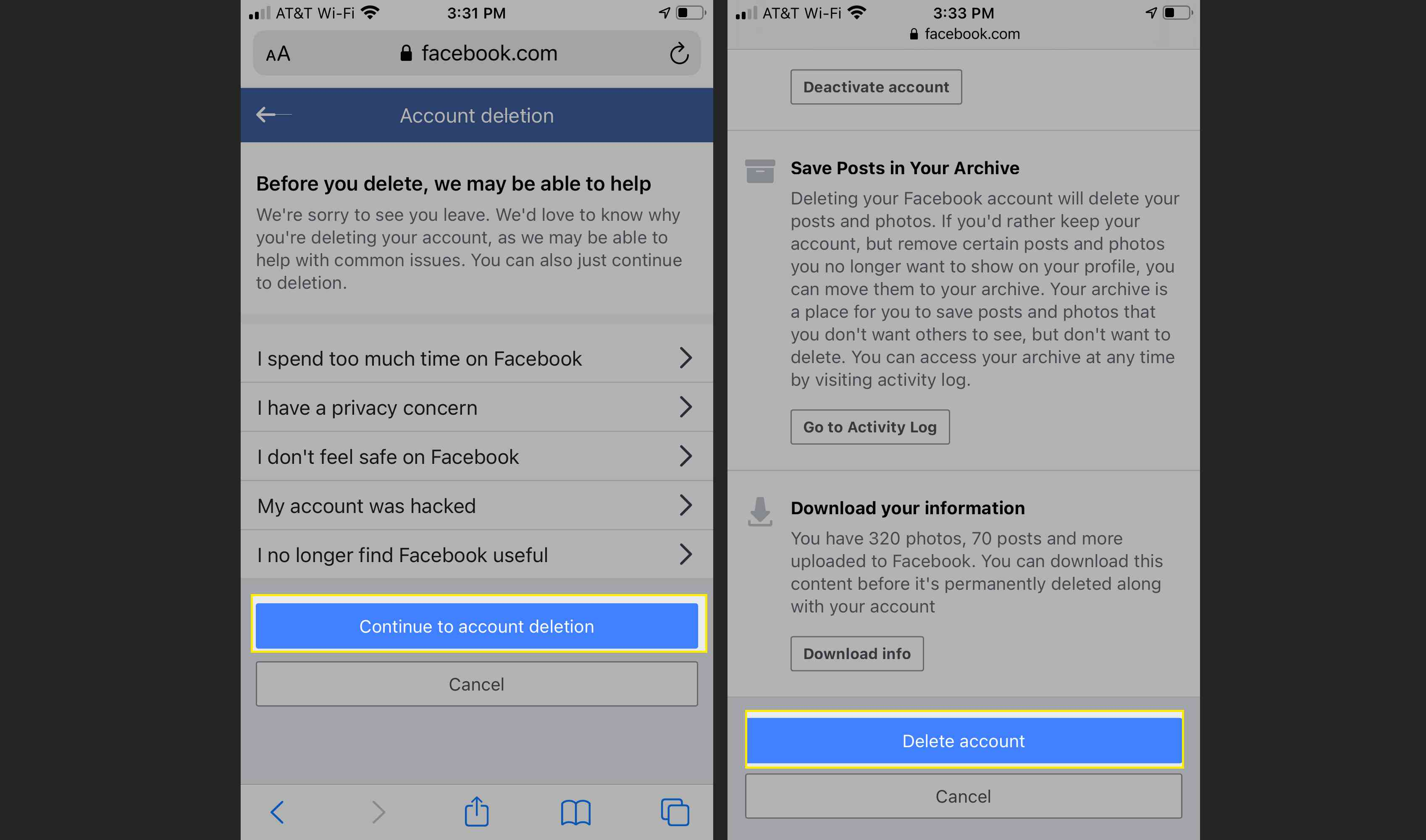 Facebook in Safari on iPhone with Continue to Account Deletion and Delete Account highlighted