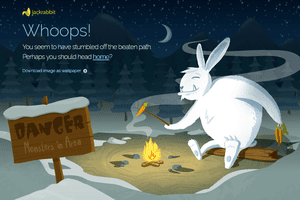 Screenshot of Jackrabbit Design's Monster Rabbit 404 Error Page