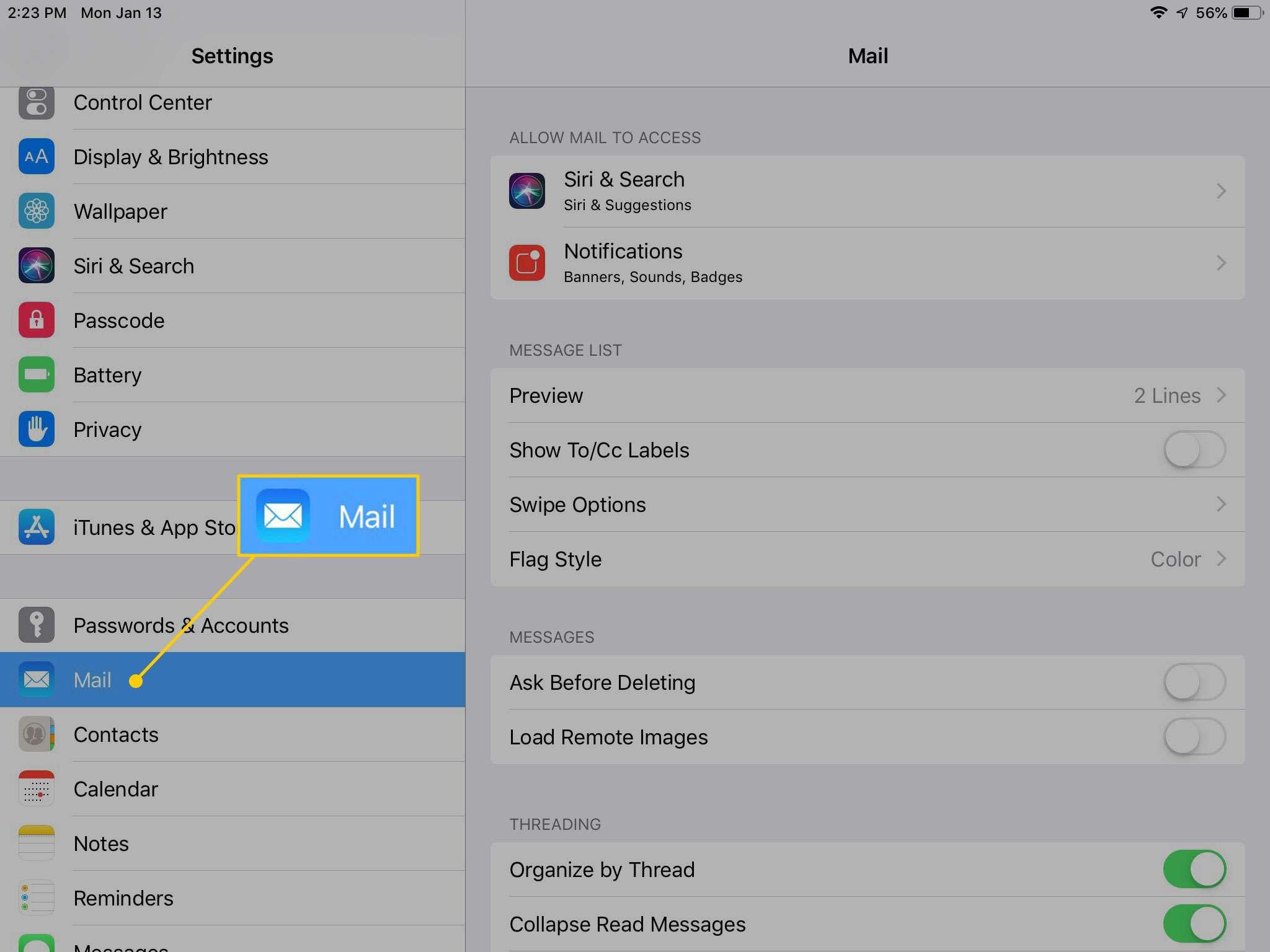 Mail settings on an iPad