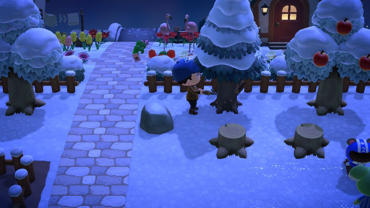 Chopping a tree in Animal Crossing: New Horizons