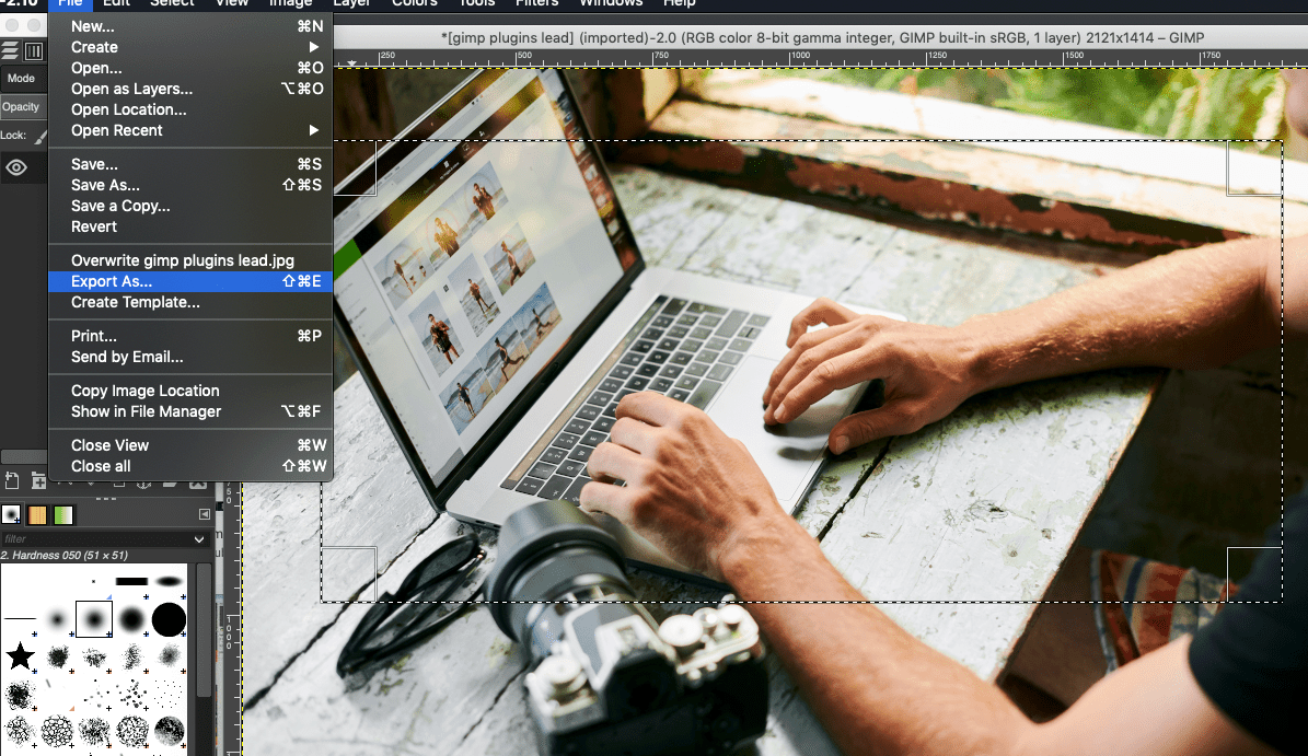 Screenshot of the export as function in GIMP 2.10.