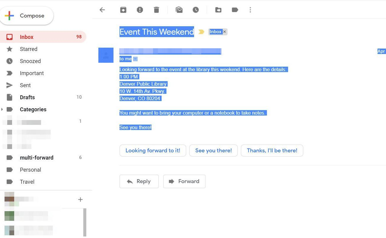 Gmail text highlighted