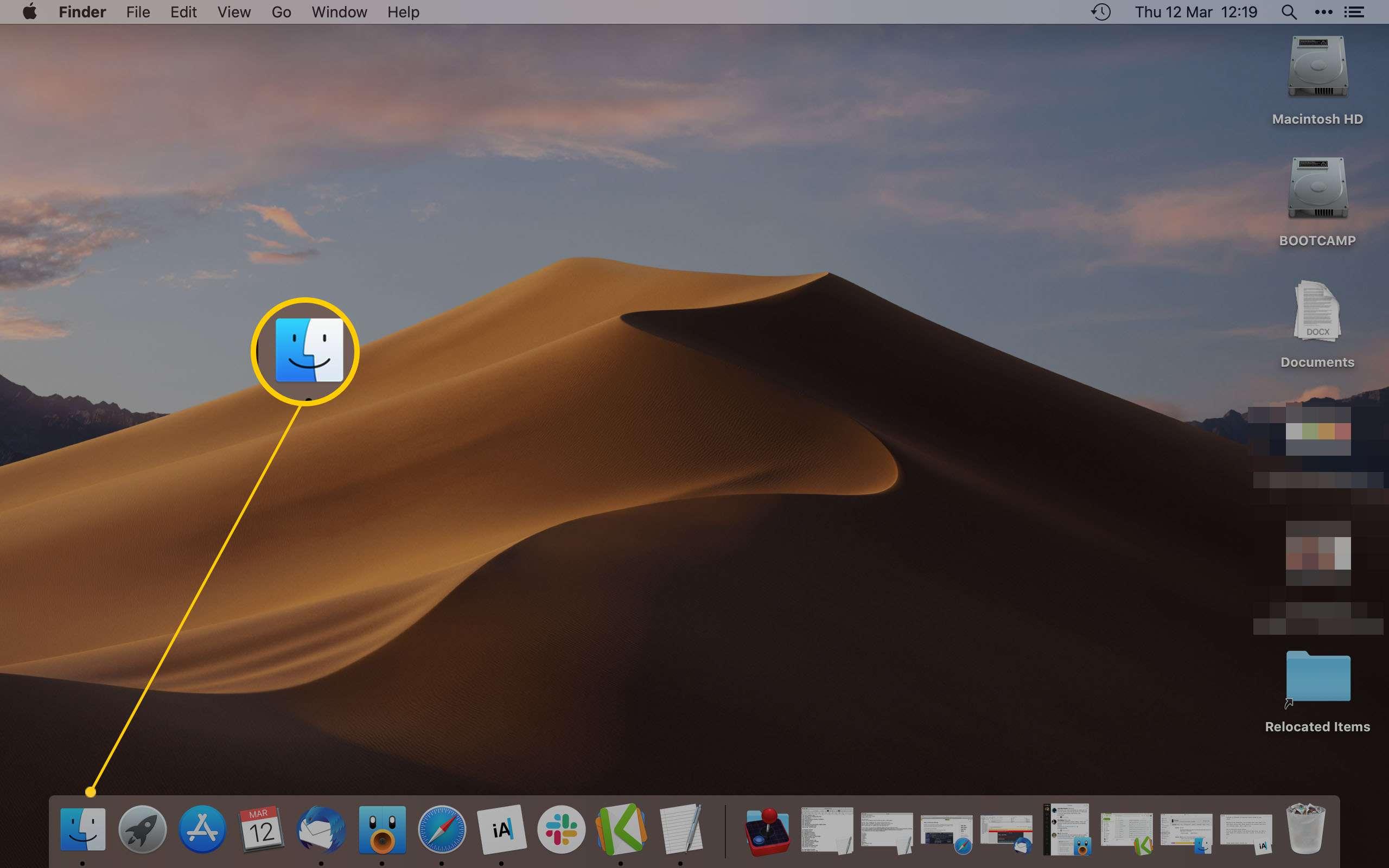 MacOS desktop with Finder highlighted
