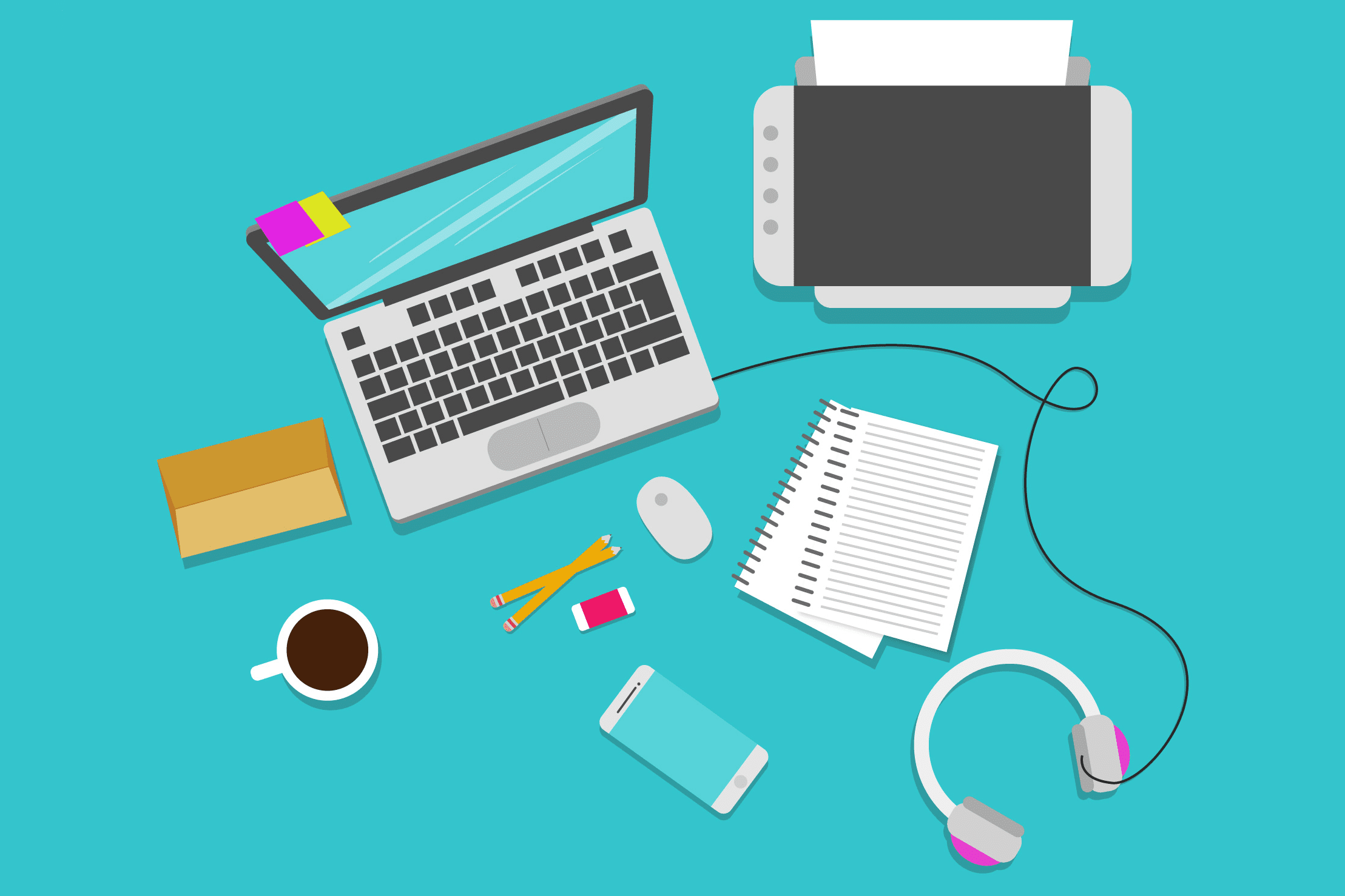 Illustration of a desktop with a printer, laptop, papers, headphones, phone, drink, and more