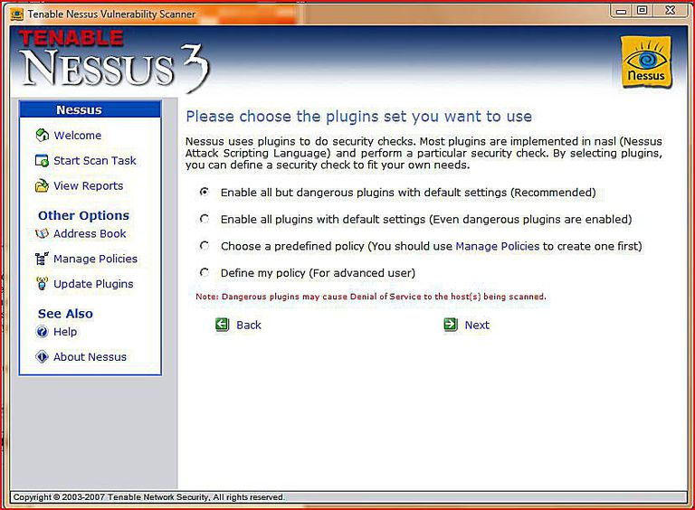 nessus scans by default using all scans and plugins except for the scans that are deemed potentially dangerous dangerous plugins may potentially crash