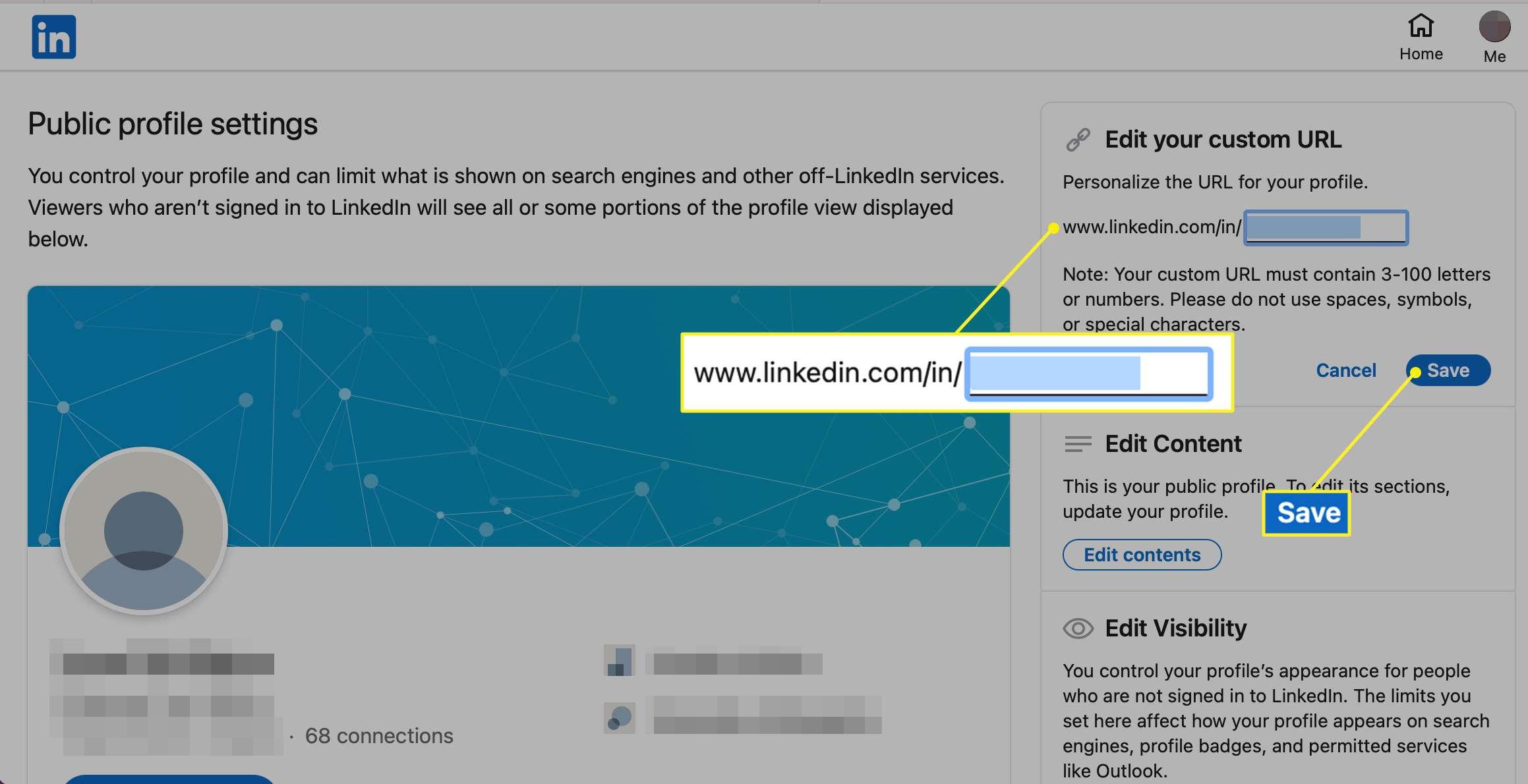Edit your custom URL section in LinkedIn