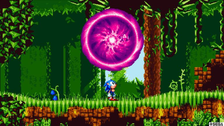 Sonic the Hedgehog stares at a mysterious portal in Sonic Mania.