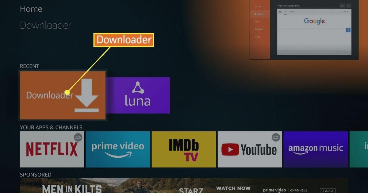 The downloader app on Fire TV.