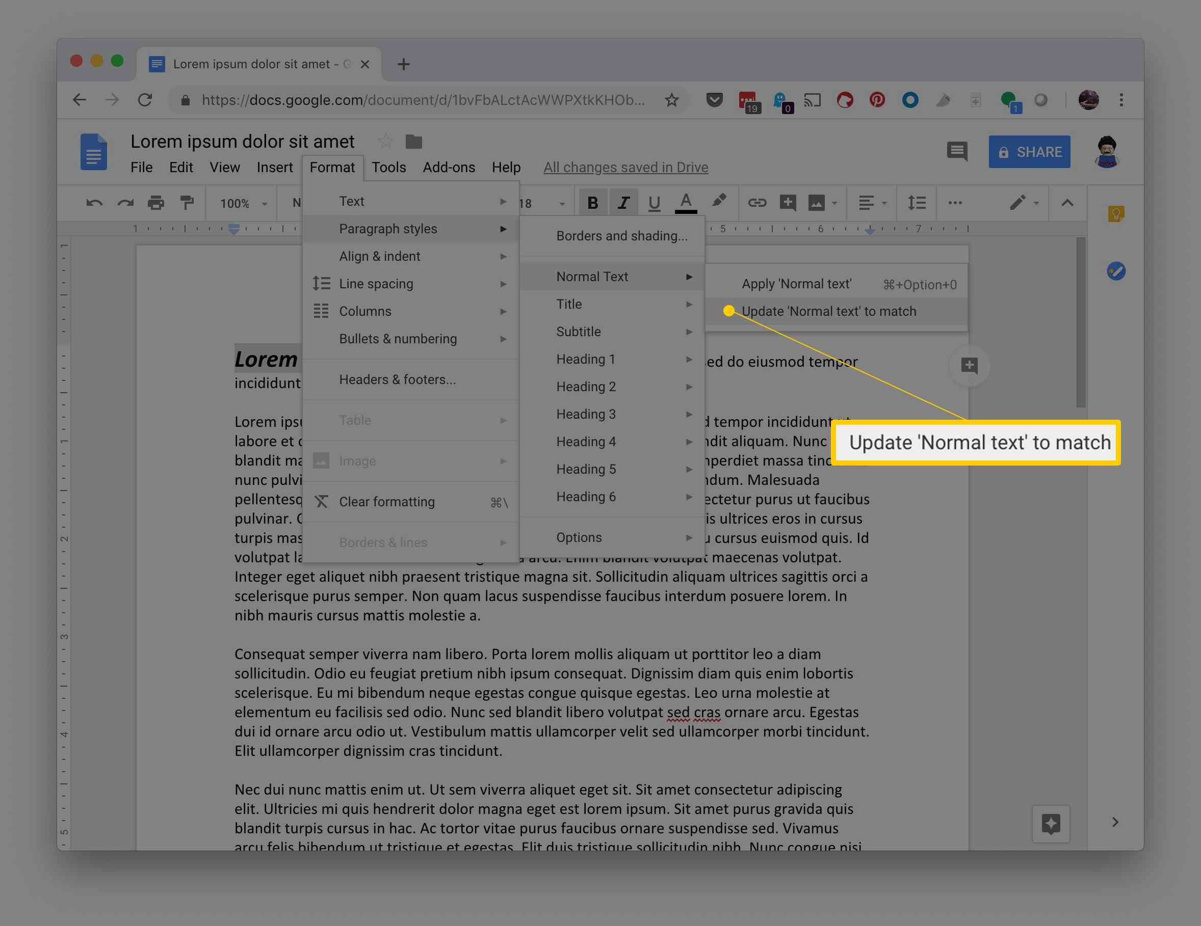Update Normal text to match option in Format menu in Google Docs