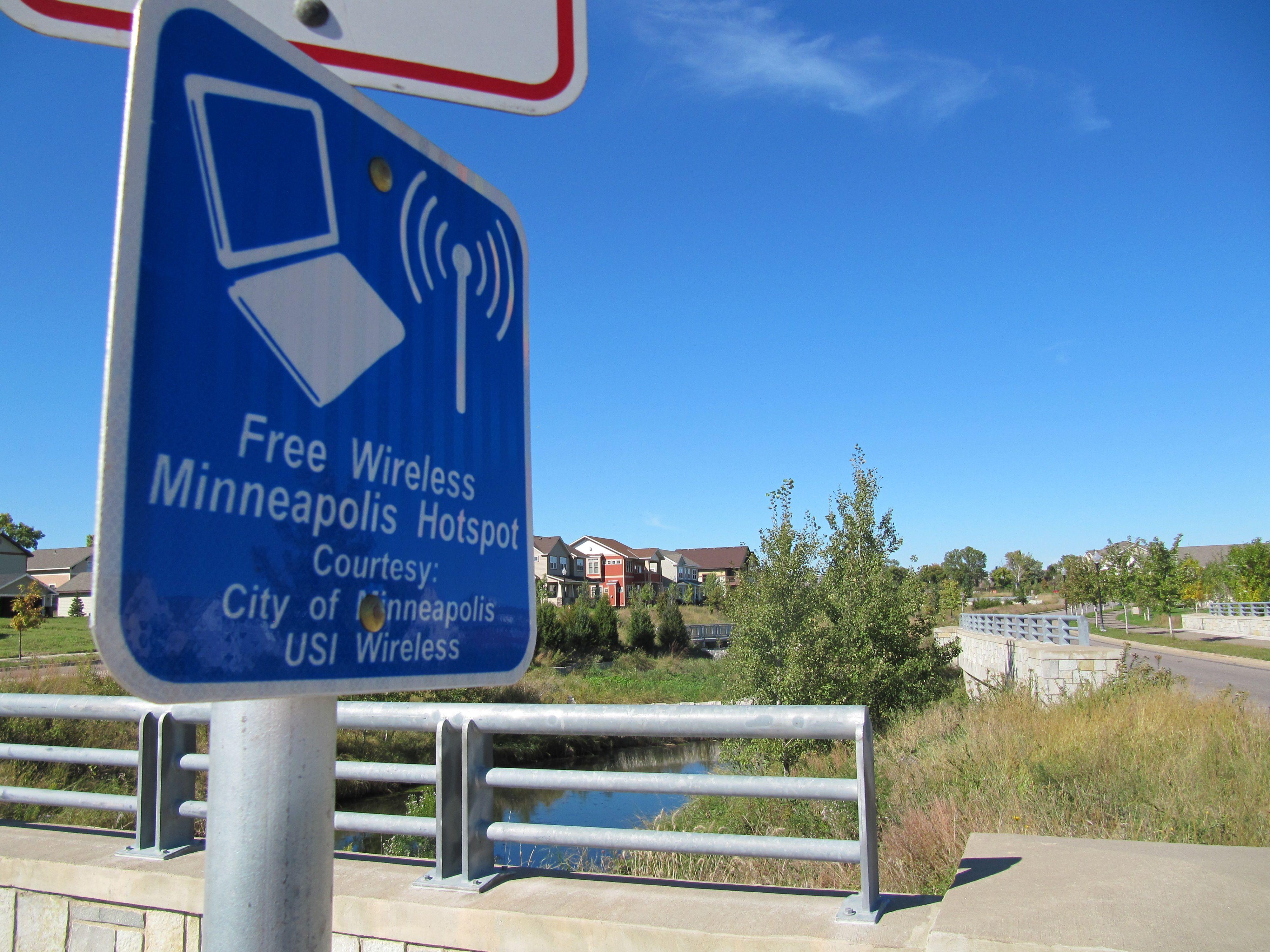 Minneapolis free Wi-Fi sign
