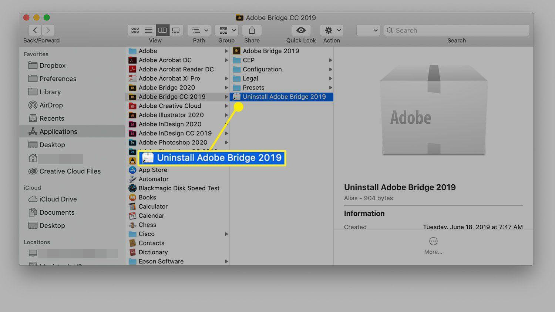 Uninstall screen of a Mac app