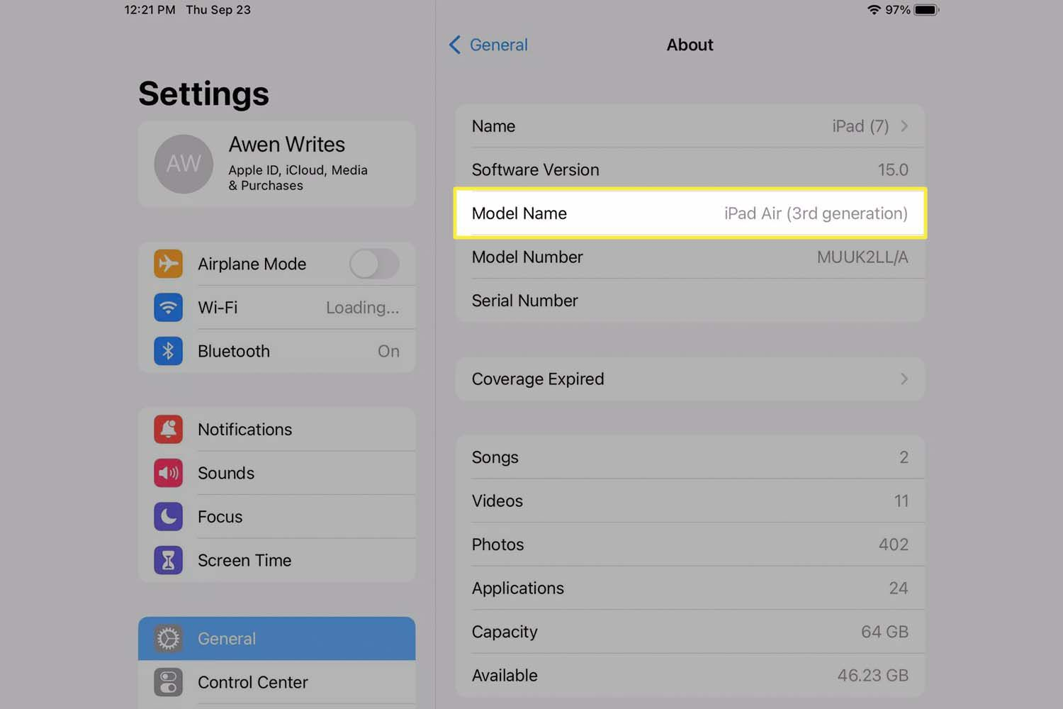 Model Name highlighted from iPad settings.
