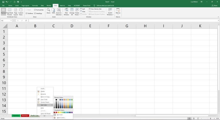Excel 2016 showing tab colors.