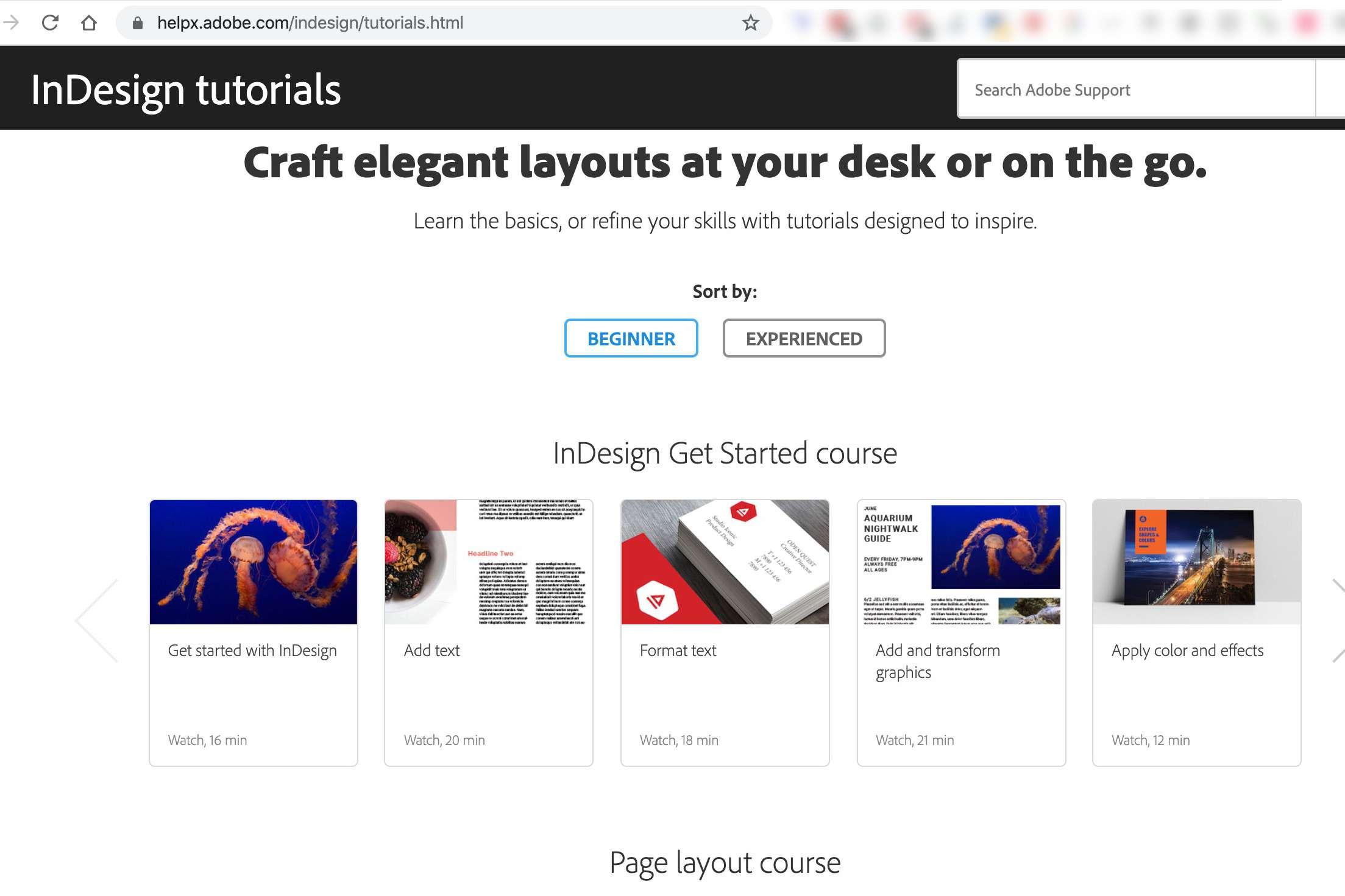 Adobe InDesign tutorials page