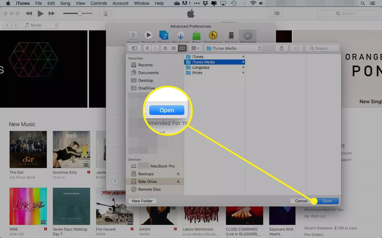 iTunes Finder window with the Open button highlighted
