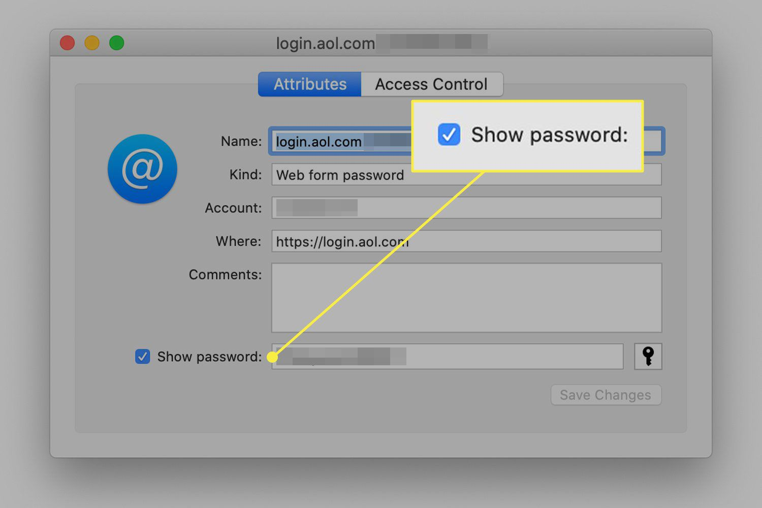 A screenshot of a Keychain item with the Show Password option highlighted