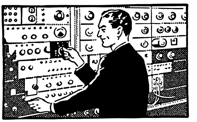 Illustration of a man at an old switchboard