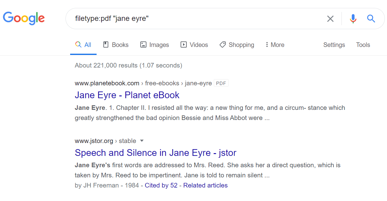 Google PDF search for Jane Eyre