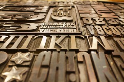 Font printing plates of various sizes and lettering.