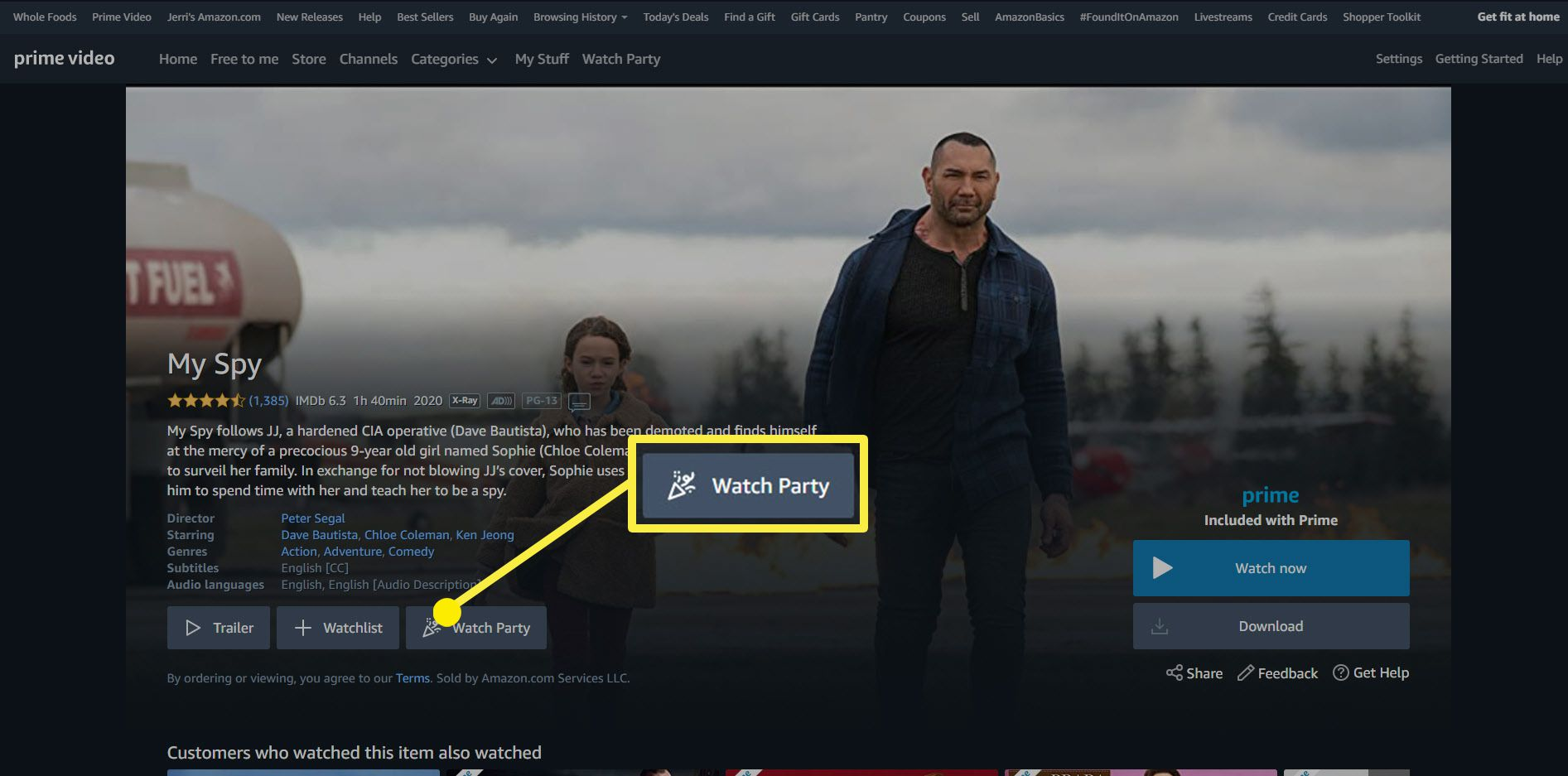 The Watch Party icon on an Amazon Prime movie.