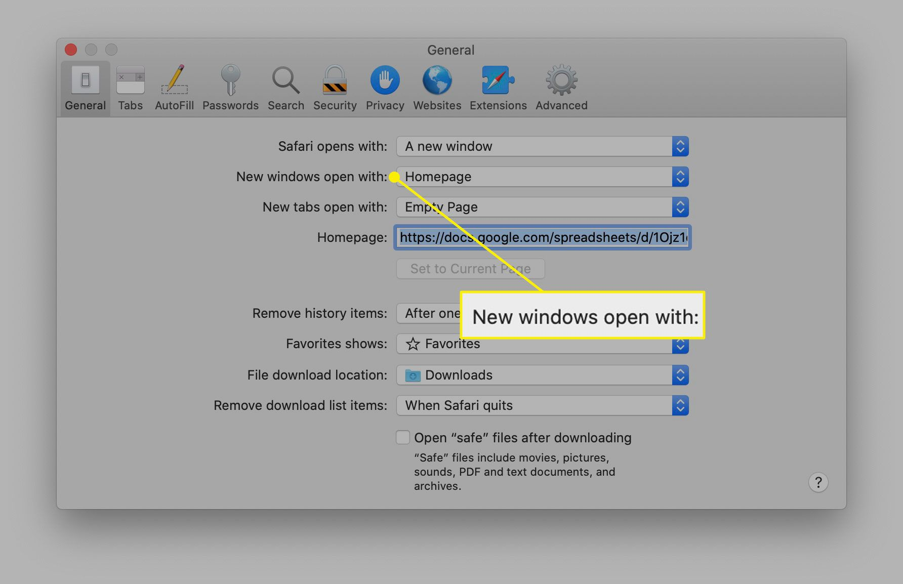The New windows open with option in Safari
