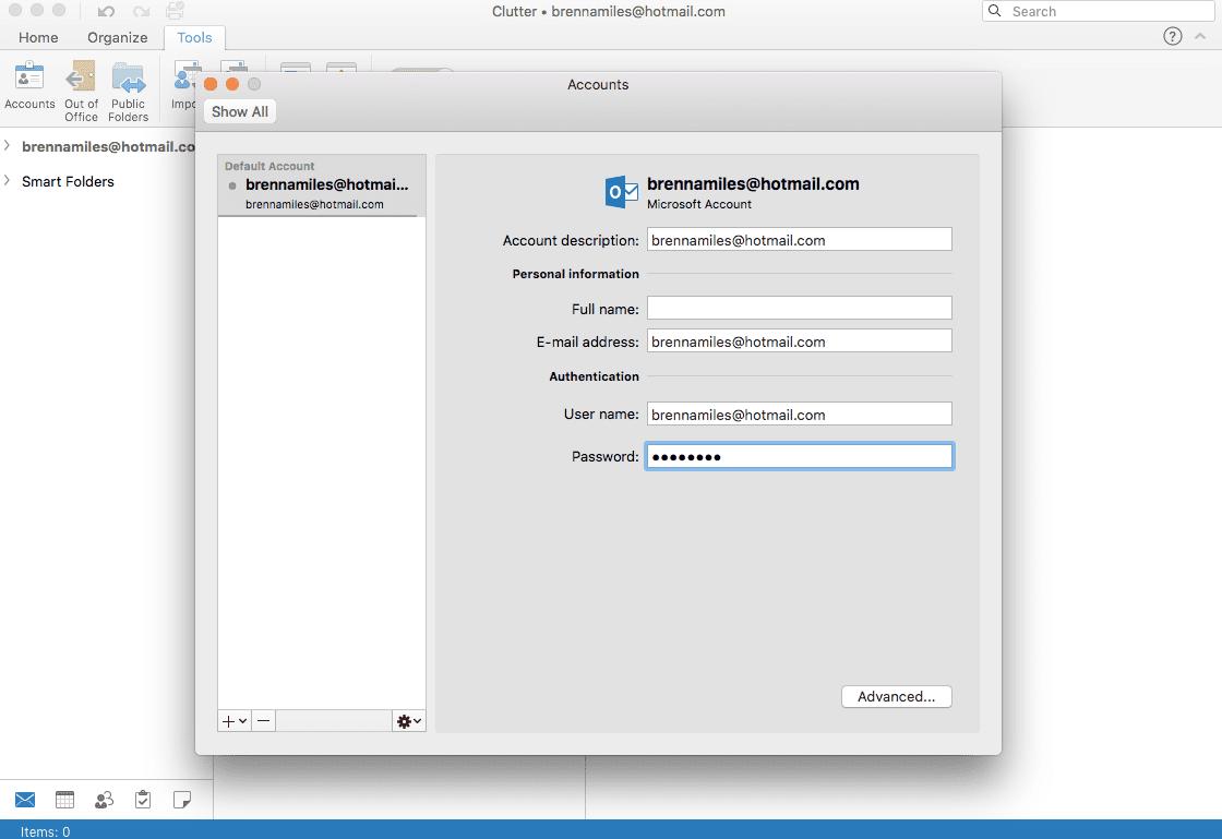 Photo of password change on Accounts window on Mac