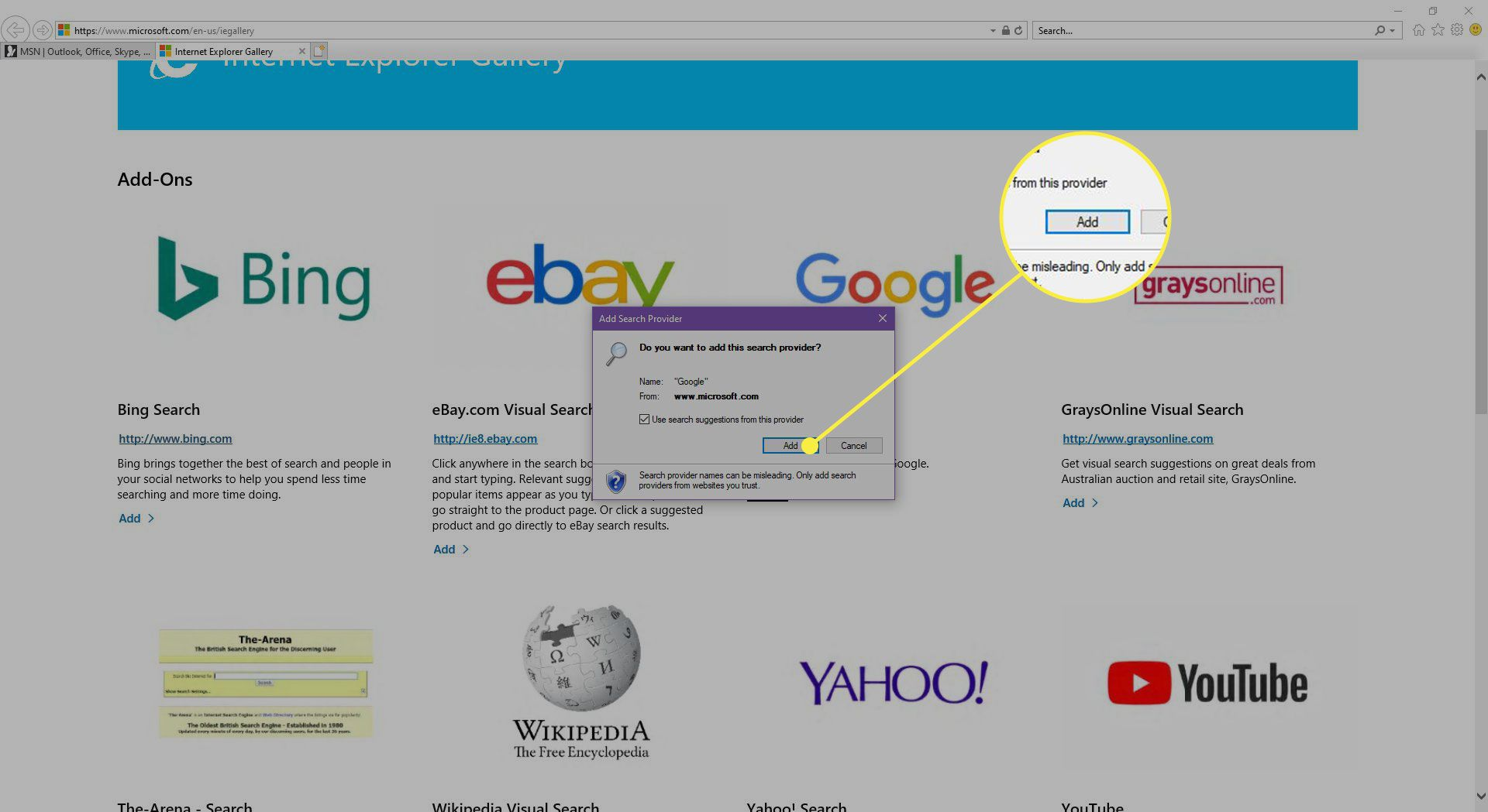 The Internet Explorer gallery with the Add button highlighted
