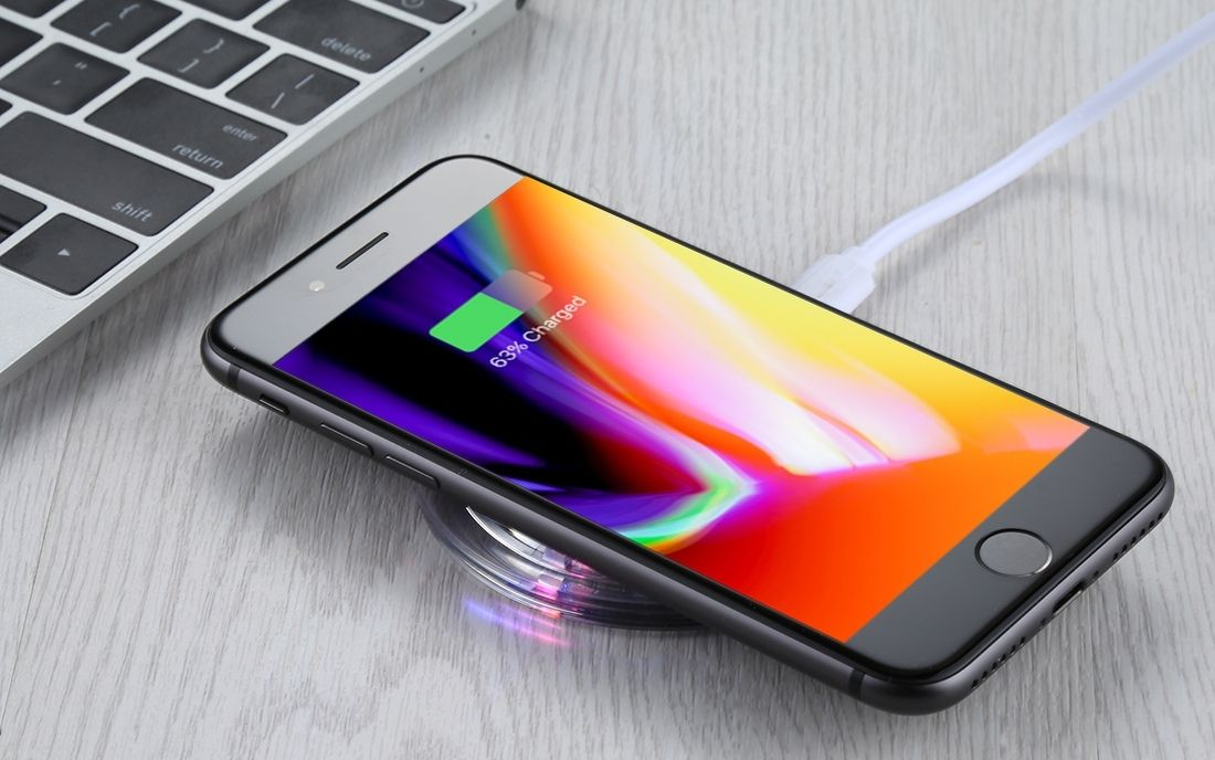 iPhone on wireless charger