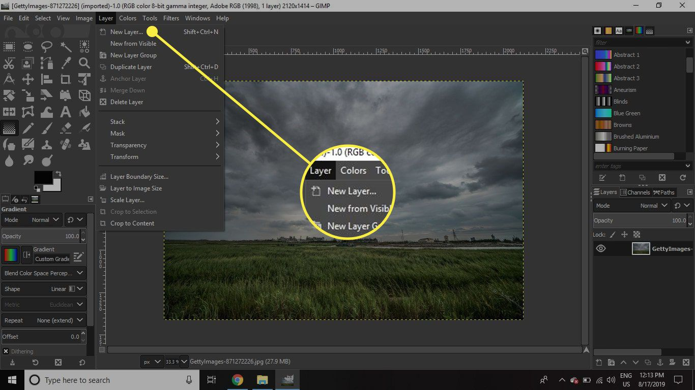 A screenshot of GIMP with the New Layer command highlighted