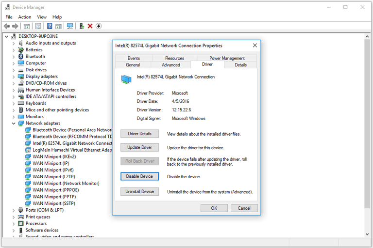 "Screenshot showing the ""Disable Device"" button on a device in the Windows 10 Device Manager"
