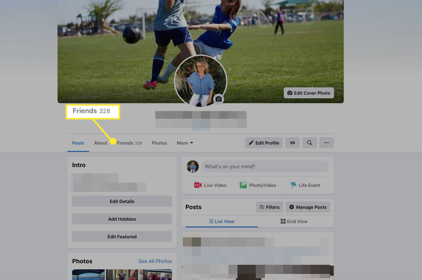 Select Friends to view your list of Facebook Friends.